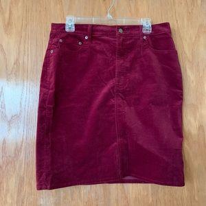 Women's high rise velvet mini skirt